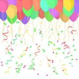 Wektoru balony, faborki i confetti w płaskim projekcie na przejrzystym tle, royalty ilustracja