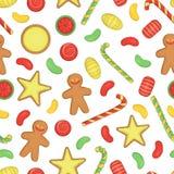 Wektoru barwiony bezszwowy wzór cukierki ilustracja wektor