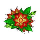 Wektoru Barwiony Kwiecisty tło Doodle ręka Rysujący ornament z kwiatami również zwrócić corel ilustracji wektora Ilustracji