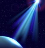 Wektoru bezpośredni światło w ciemnej przestrzeni Planeta i ufo światło ilustracji