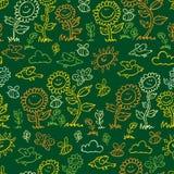 Wektoru chalkboard stylu zielony słoneczników, ptaków i pszczół powtórki wzór, Stosowny dla opakunku, tkaniny i tapety prezenta, royalty ilustracja