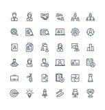 Wektoru cienkie kreskowe ikony ustawiający zarządzanie i biznes zarysowywamy symbole royalty ilustracja