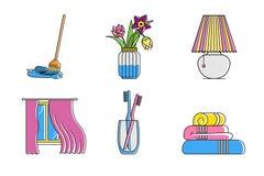 Wektoru cleaning ikony domowy wewnętrzny set ilustracja wektor