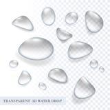 Wektoru 3D aqua wody kropli przejrzysty czysty set Zdjęcia Stock