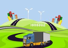 Wektoru 3d ciężarowy automoble jeżdżenie na drodze, wieś ilustracja wektor