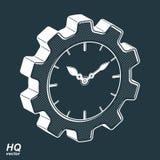 Wektoru 3d cog retro koło i zegar z godziny ręką, biznes Obrazy Royalty Free