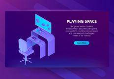 Wektoru 3d hazardu isometric miejsce, rozrywki wiadomość ilustracji