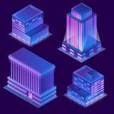 Wektoru 3d isometric budynki z neonową iluminacją ilustracja wektor