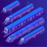 Wektoru 3d isometric fiołkowy tramwaj, tramwaj, metro ilustracja wektor