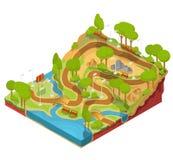 Wektoru 3D isometric ilustracja przekrój poprzeczny kształtuje teren parka z rzeką, mostami, ławkami i lampionami, ilustracja wektor