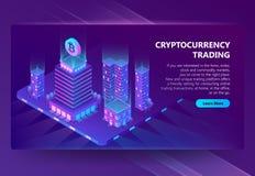 Wektoru 3d isometric miejsce dla handlarskiego cryptocurrency royalty ilustracja