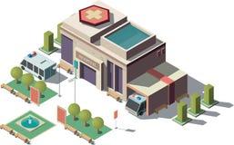 Wektoru 3d isometric szpital, karetka z parking ilustracji