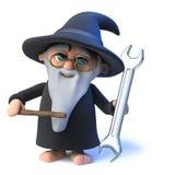 Wektoru 3d kreskówki czarownika Śmieszny magik macha jego różdżkę przy biletem Obrazy Royalty Free