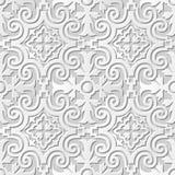 Wektoru 3D papieru sztuki wzoru adamaszkowi bezszwowi 027 tła Ślimakowaty Round kalejdoskop royalty ilustracja