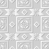 Wektoru 3D papieru sztuki wzoru adamaszkowi bezszwowi 086 tła Crosscheck Kwadratowy kwiat ilustracja wektor
