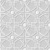 Wektoru 3D papieru sztuki wzoru adamaszkowi bezszwowi 071 tła krzyża Round krzywa ilustracji