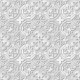 Wektoru 3D papieru sztuki wzoru adamaszkowi bezszwowi 244 tła krzywy Round krzyż royalty ilustracja