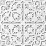 Wektoru 3D papieru sztuki wzoru adamaszkowi bezszwowi 087 tła kwiatu Gwiazdowy kalejdoskop ilustracja wektor