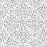 Wektoru 3D papieru sztuki wzoru adamaszkowi bezszwowi 031 tła kwiatu Przecinający kalejdoskop Obrazy Stock