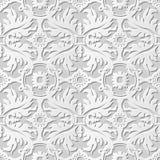 Wektoru 3D papieru sztuki wzoru adamaszkowi bezszwowi 235 tła liścia krzyża Round kwiat Zdjęcie Stock