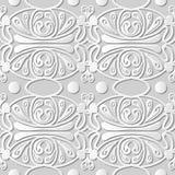 Wektoru 3D papieru sztuki wzoru adamaszkowi bezszwowi 073 tła Round Koszowy kalejdoskop royalty ilustracja