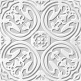 Wektoru 3D papieru sztuki wzoru adamaszkowi bezszwowi 084 tła Round Koszowy kwiat royalty ilustracja