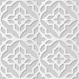 Wektoru 3D papieru sztuki wzoru adamaszkowi bezszwowi 355 tła Round Przecinający kwadrat ilustracja wektor