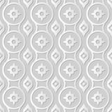 Wektoru 3D papieru sztuki wzoru adamaszkowi bezszwowi 017 tła Round Przecinający kwiat ilustracja wektor