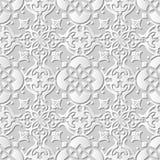 Wektoru 3D papieru sztuki wzoru adamaszkowi bezszwowi 226 tła Round Przecinający kwiat ilustracji