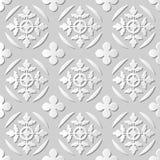 Wektoru 3D papieru sztuki wzoru adamaszkowi bezszwowi 009 tła Round Przecinający liść royalty ilustracja