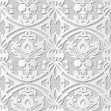 Wektoru 3D papieru sztuki wzoru adamaszkowi bezszwowi 183 tła Round Przecinający liść ilustracja wektor