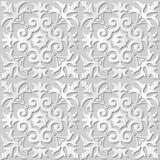 Wektoru 3D papieru sztuki wzoru tła 036 adamaszkowego bezszwowego krzyża Ślimakowaty kwiat ilustracji