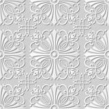 Wektoru 3D papieru sztuki wzoru tła 099 adamaszkowego bezszwowego krzyża Ślimakowaty winograd ilustracja wektor