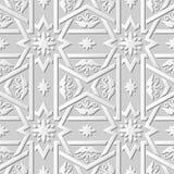 Wektoru 3D papieru sztuki wzoru tła 021 adamaszkowego bezszwowego krzyża Ramowy kwiat ilustracji