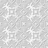 Wektoru 3D papieru sztuki wzoru tła 019 adamaszkowej bezszwowej mozaiki Kwadratowa geometria ilustracja wektor