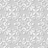 Wektoru 3D papieru sztuki wzoru tła 070 adamaszkowej bezszwowej róży Round kwiat ilustracji
