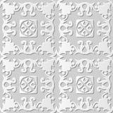 Wektoru 3D papieru sztuki wzoru tła 075 adamaszkowej bezszwowej spirali Przecinający kwiat royalty ilustracja
