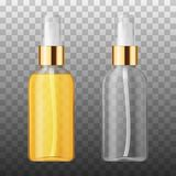 Wektoru 3D piękna włosianej opieki ochrony kosmetyka Realistyczny produkt Plastikowy biały i tranparent zbiornik kiści butelka Obraz Royalty Free