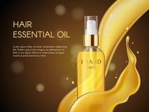 Wektoru 3D piękna włosianej opieki ochrony kosmetyka Realistyczny produkt Złoty włosianego oleju zbiornik kiści butelka, złoto Obraz Royalty Free