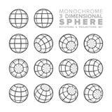 Wektoru 3d sfery trójwymiarowi monochromatyczni obracania i projekcje ustawiający ilustracja wektor