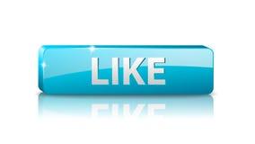 Wektoru 3D sieci błękitny guzik lubi Fotografia Stock