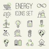 Wektoru eco ikon energetycznej władzy zielone energetyczne ikony ustawiająca ustalona bateria oliwi środowisko naturę Jądrowy dom royalty ilustracja