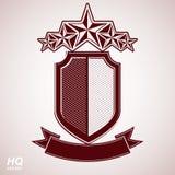 Wektoru eps8 arystokratyczny symbol Świąteczna graficzna osłona z pięć gwiazdami i curvy faborkiem - dekoracyjny luksusowy ochron Zdjęcie Royalty Free
