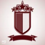 Wektoru eps8 arystokratyczny symbol Świąteczna graficzna osłona z pięć gwiazdami i curvy faborkiem - dekoracyjny luksusowy ochron Fotografia Stock