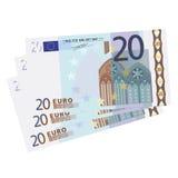 Wektoru 20 Euro rachunki Obrazy Royalty Free