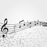 Wektoru falowy muzyczny tło: melodia, notatki, klucz royalty ilustracja