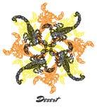 Wektoru fractal ujścia Pustynny nastrój Grawerujący skład Zdjęcia Royalty Free