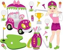Wektoru golfa set z dziewczyną Bawić się golfa Wektorowy golfista Golfowa wektorowa ilustracja ilustracji