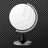 Wektoru golfowy boll Golfowa kula ziemska odizolowywająca nad przejrzystym tłem, Obraz Stock