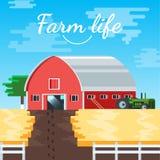 Wektoru gospodarstwa rolnego domu ilustraci tło Fotografia Royalty Free